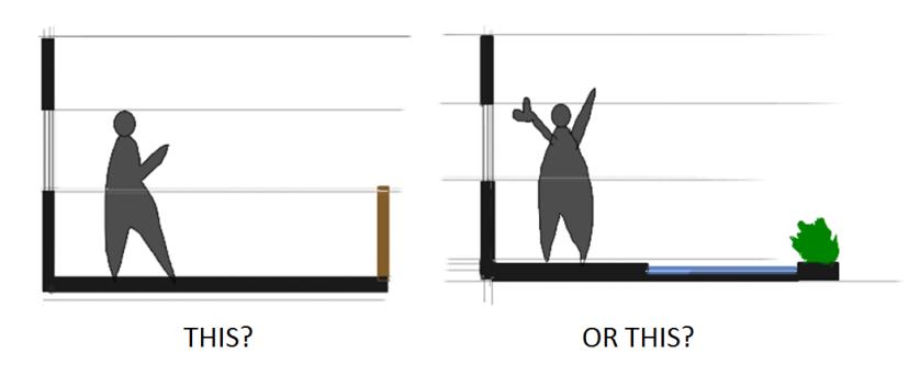 Railing vs Reflecting pool